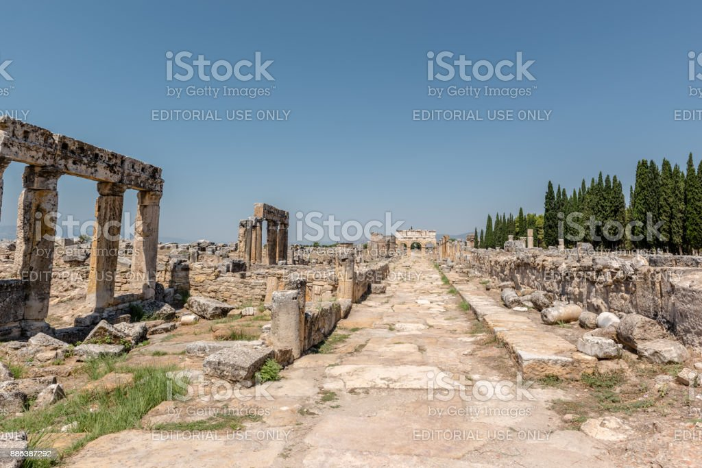 Ancient ruins in Hierapolis, Pamukkale,Turkey stock photo