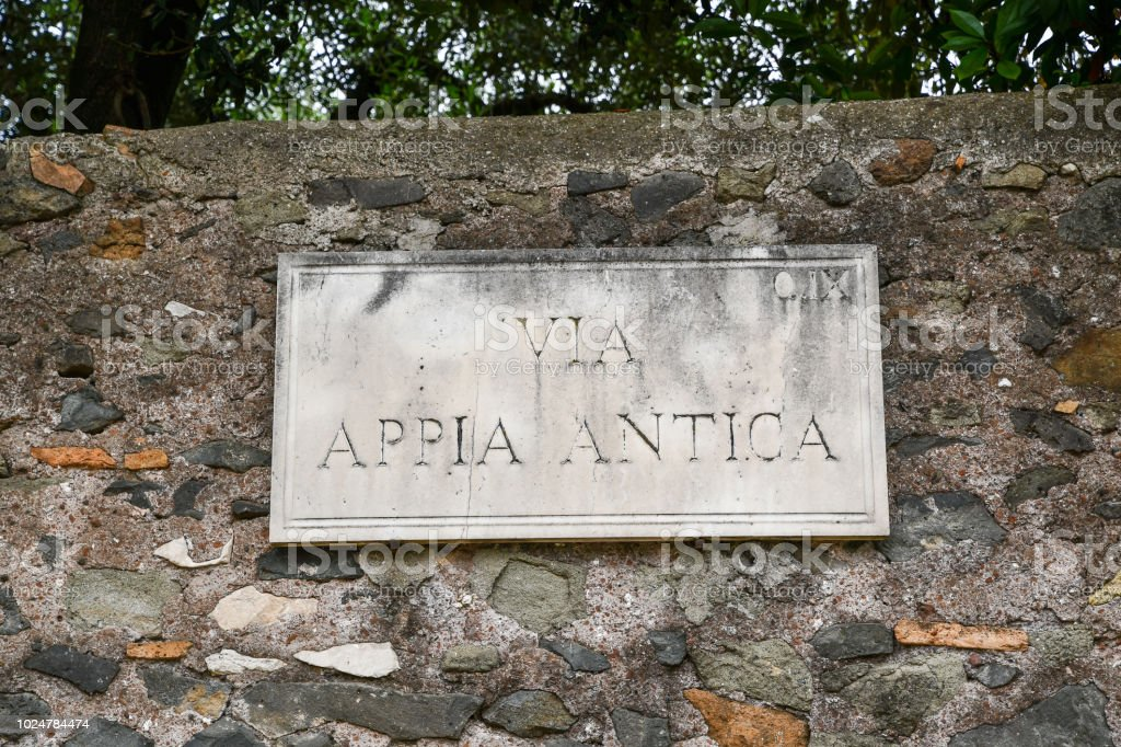 Ancient ruins in Rome (Italy) -  Name plate Via Appia (Appian Way) - foto stock