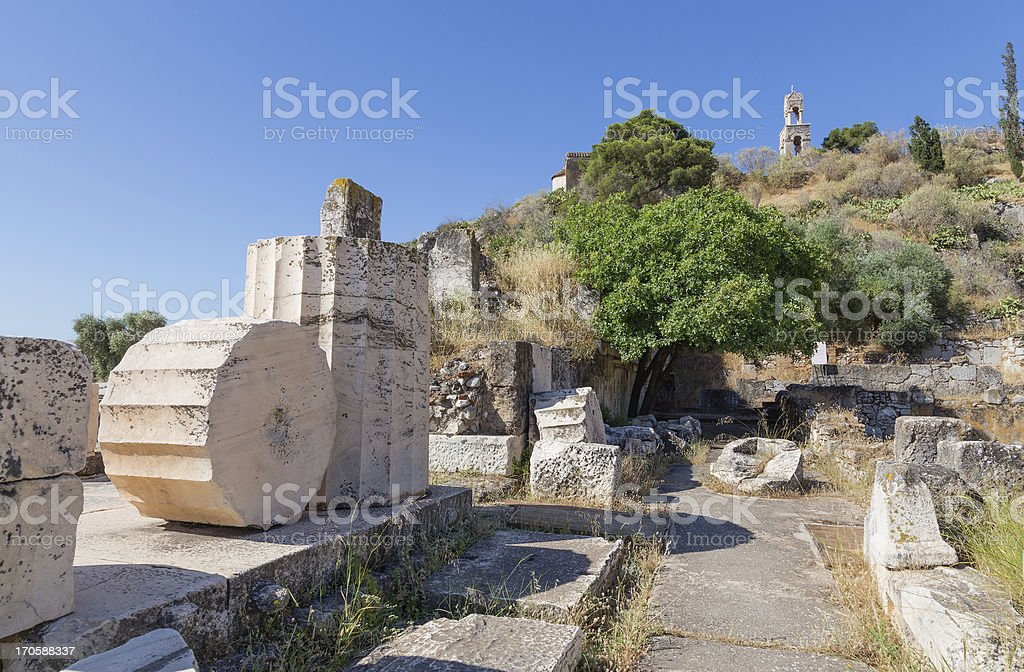 Ancient ruins in the archaeological site of Eleusis, Attica, Greece stock photo