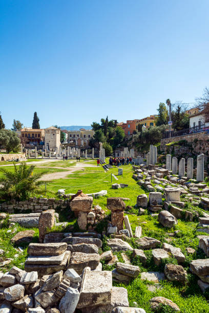 Ancient ruins in the Roman Forum in the centre of Athens stock photo