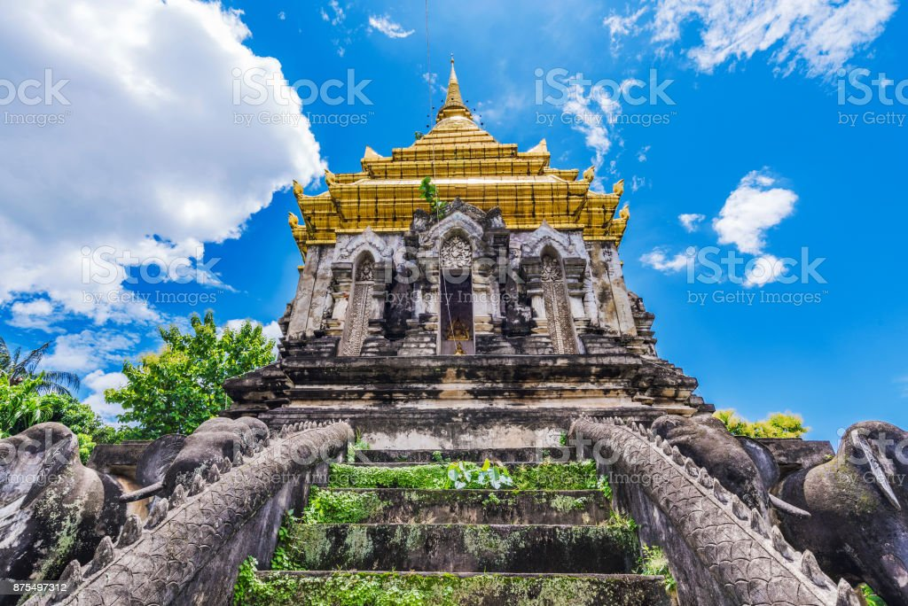 Ancient ruins of an old buddhist pagoda stock photo