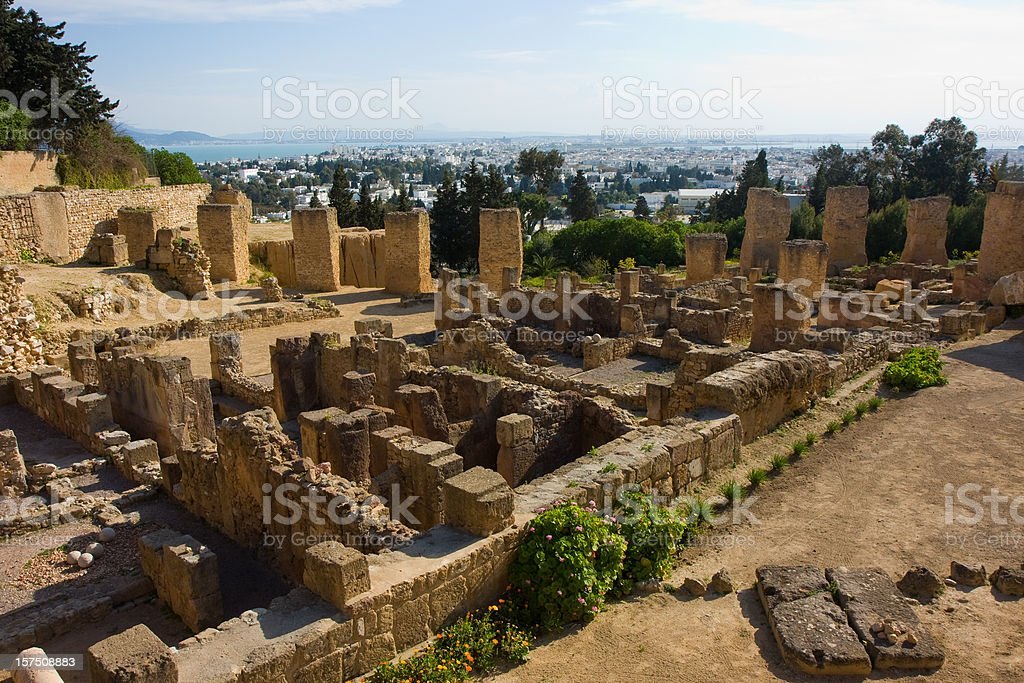 ancient ruins of Carthage stock photo