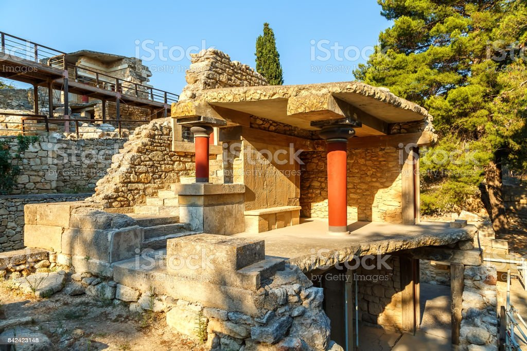 Ancient ruins of famous Knossos palace in Crete, Greece stock photo