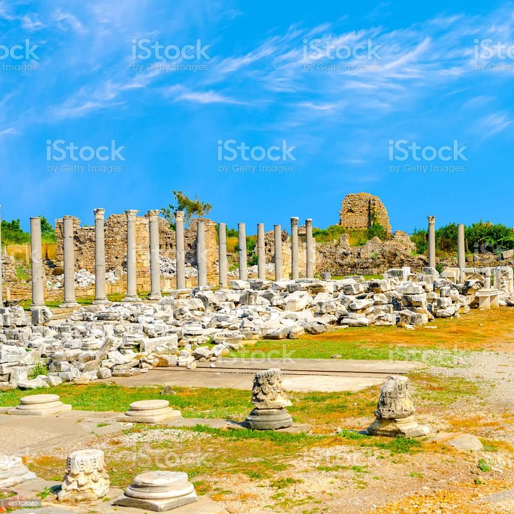 ancient ruins of goddess chance Tyche temple Roman Empire, Side, stock photo