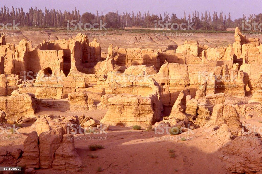 Ancient ruins of Han Dynasty era city of Jiaohe along the Silk Road near Turpan in Xinjiang Gaochang western China stock photo