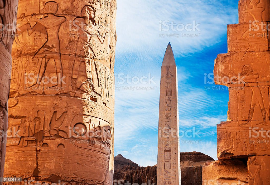 Ancient ruins of Karnak temple in Egypt in the summer, stock photo