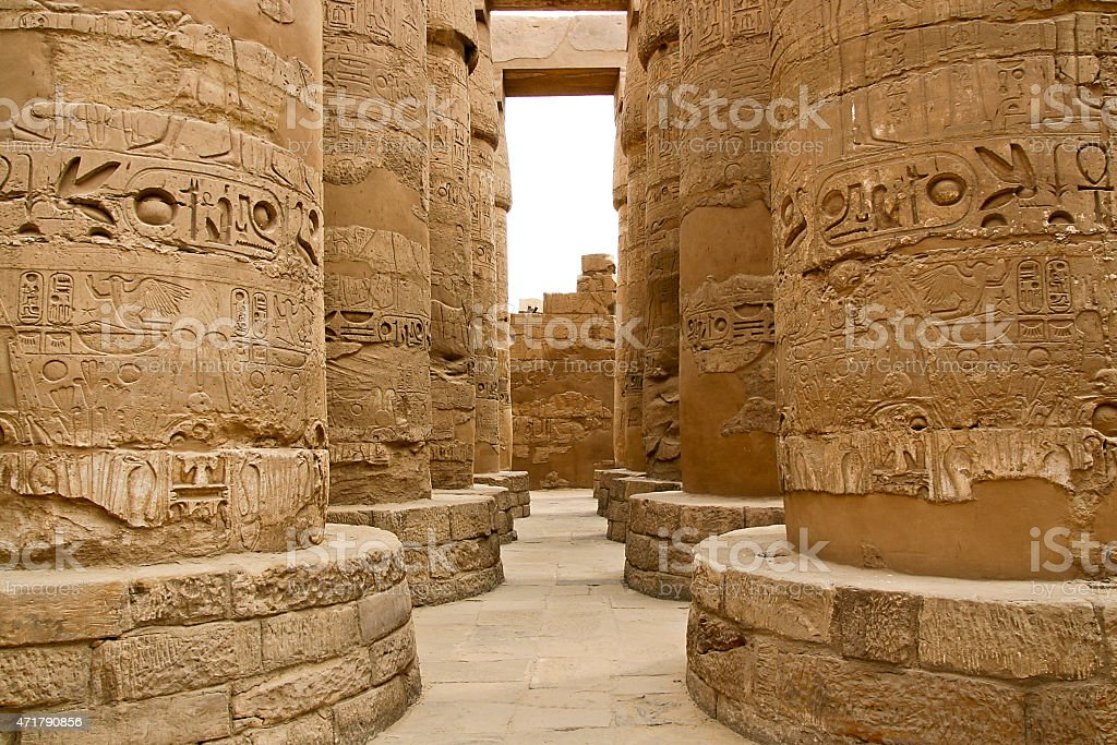 Ancient ruins of Karnak temple in Egypt. stock photo