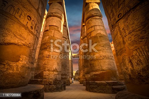 column, hieroglyphics, old, ruins, colorful sky
