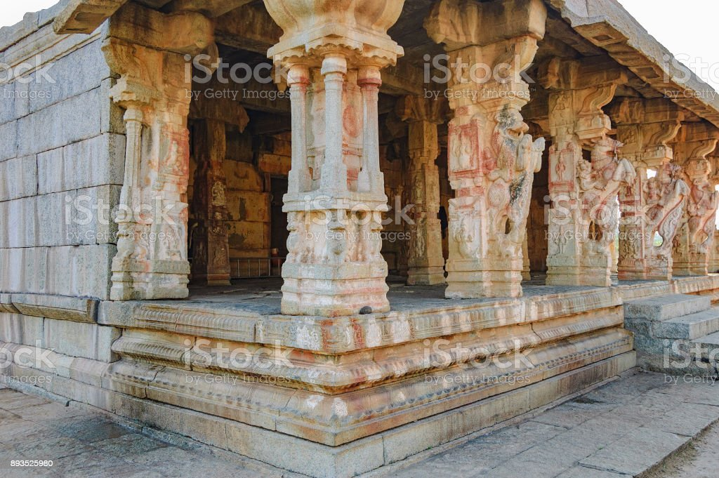 Ancient ruins of Kuduregombe Mantapa in Hampi stock photo