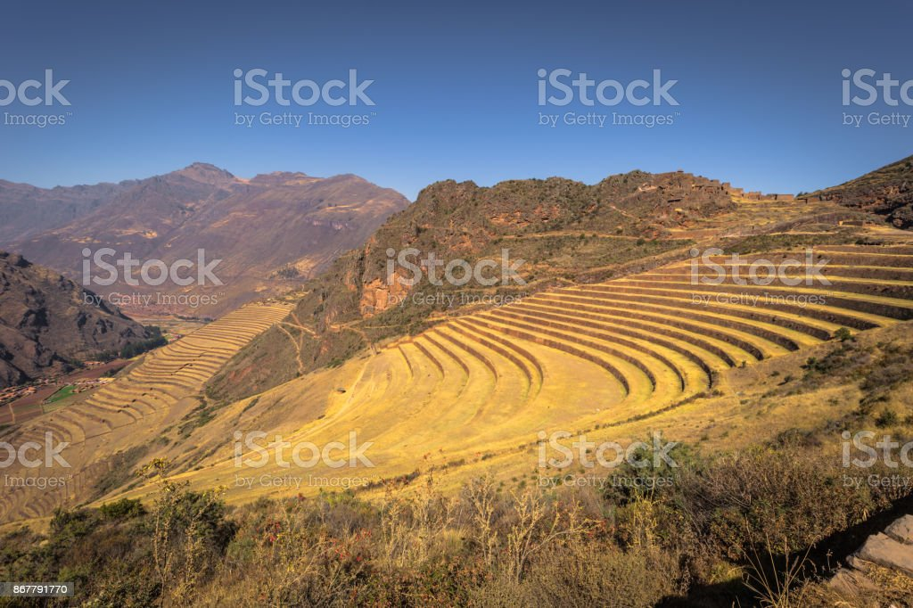 Sacred Valley, Peru - August 02, 2017: Ancient ruins of Pisac in the Sacred Valley, Peru stock photo