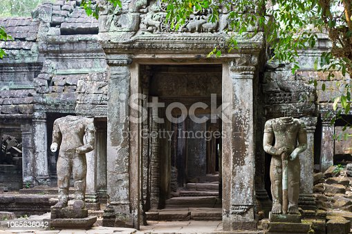 istock Ancient ruins of Preah Khan temple with stone carving, Siem Reap, Cambodia. 1065636042
