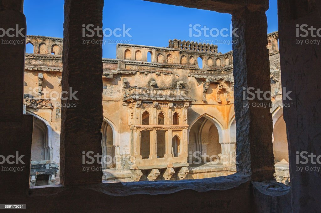 Ancient ruins of Queen's Bath in Hampi, India stock photo