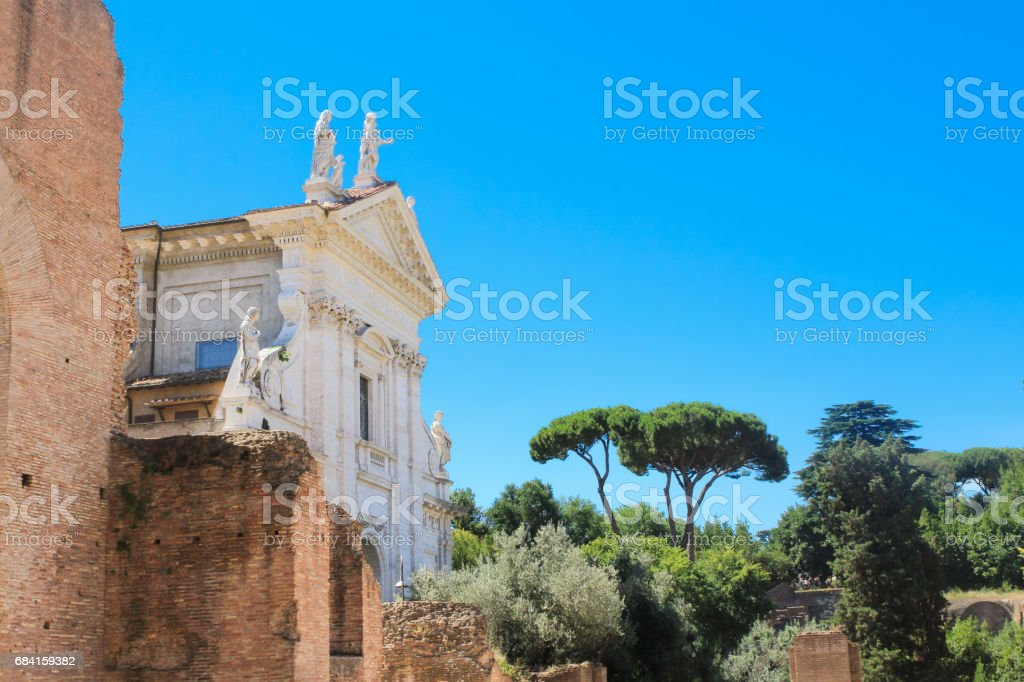 Ancient Ruins of Roman Forum and Blue Sky, Rome, Italy. royalty free stockfoto