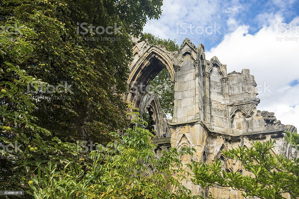 Ancient ruins of St. Mary's Abbey, York royalty-free stock photo