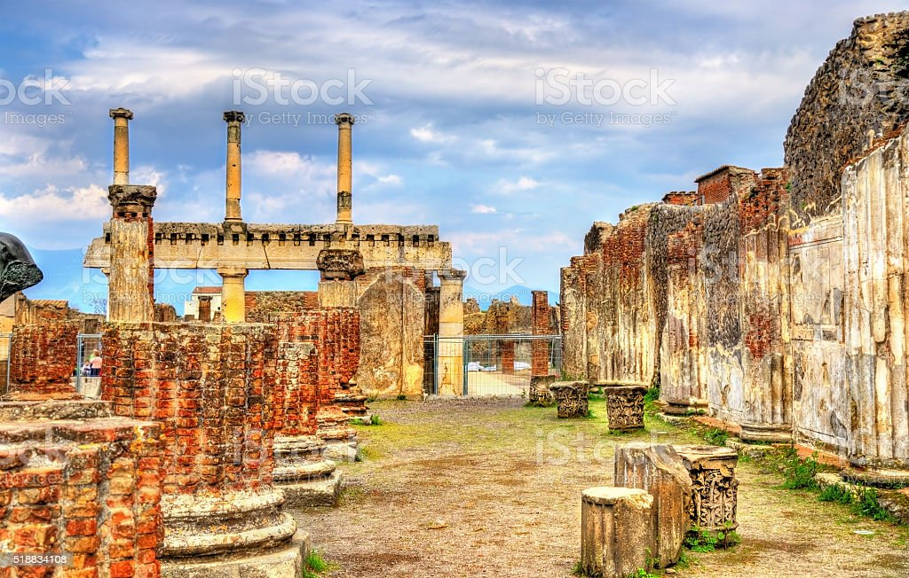 Ancient ruins of the Forum in Pompeii stock photo