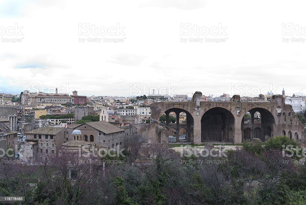 Ancient ruins of The Forum Romanum. royalty-free stock photo