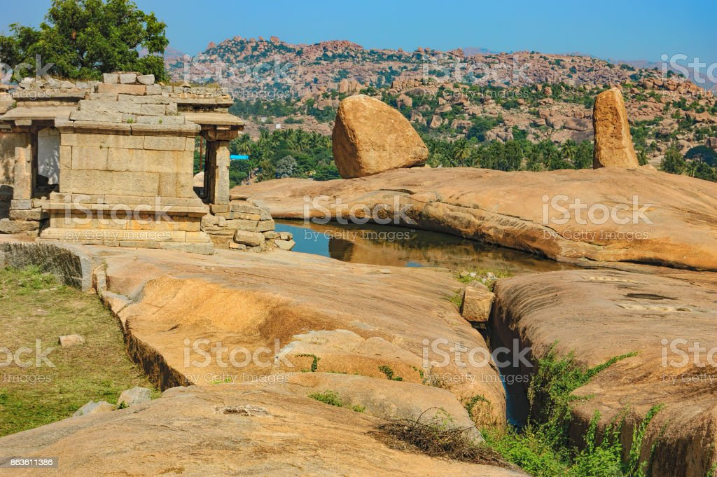 Ancient ruins on Hemakuta hill, Hampi, India stock photo