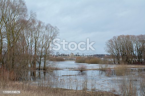 istock Ancient ruins on the banks of the Volkhov River, Veliky Novgorod, Russia 1209539629