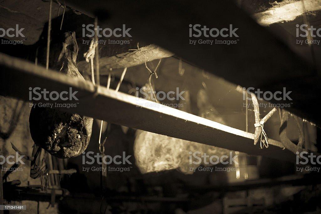 Ancient Rural Cellar Detail stock photo