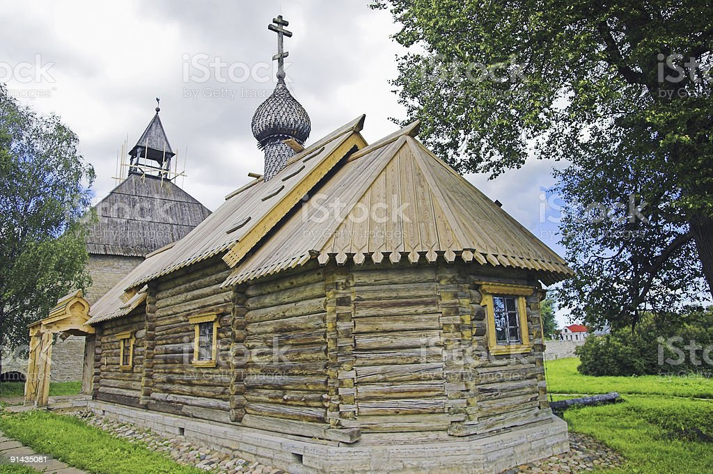 Ancient Russian loghouse church stock photo