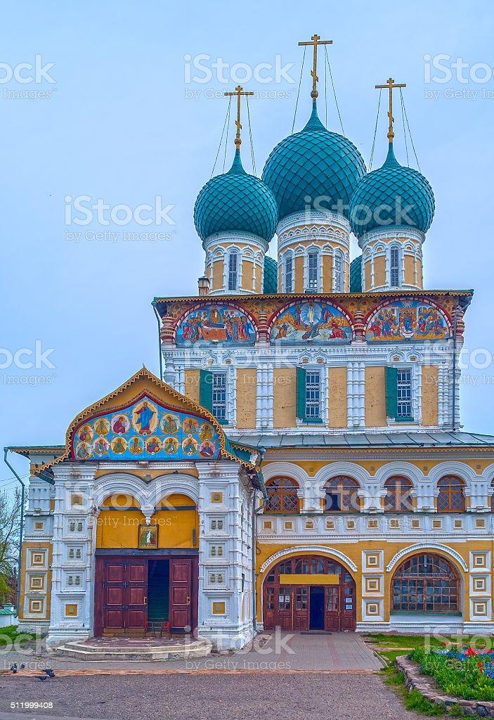 Ancient Russian Orthodox church on river Volga stock photo