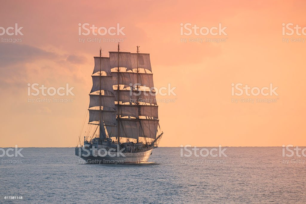 Ancient sailing ship in the sea stock photo