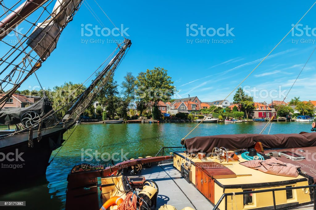 Ancient sailing ships on the Dutch river Vecht stock photo
