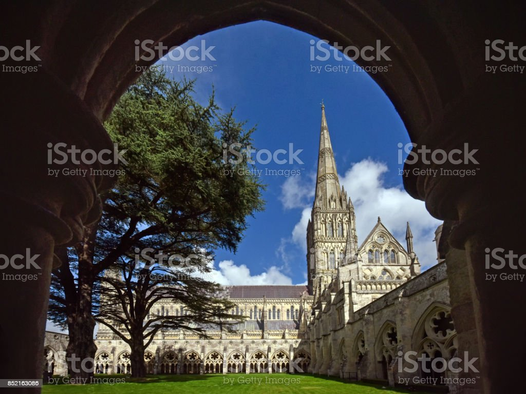 Ancient Salisbury Cathedral stock photo