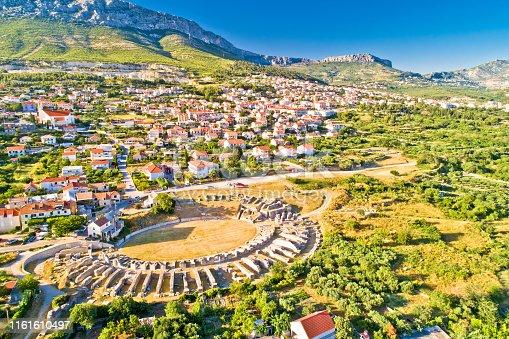 Ancient Salona or Solin amphitheater aerial view, Split region of Dalmatia, Croatia