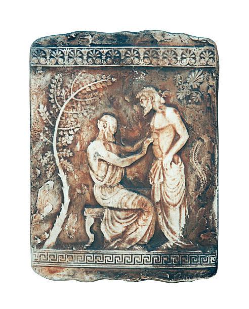 Ancient scene on marble stock photo