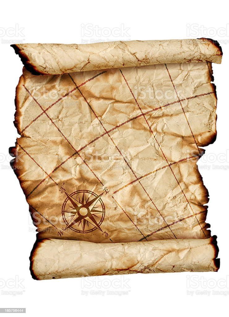 ancient scroll map royalty-free stock photo