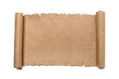 istock Ancient scroll of paper on a white background 1180892664
