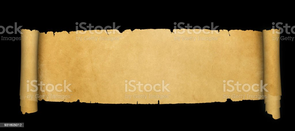 Antique parchment scroll with torn edges on black background.