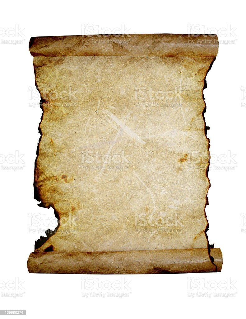 Ancient scroll (path included) stock photo