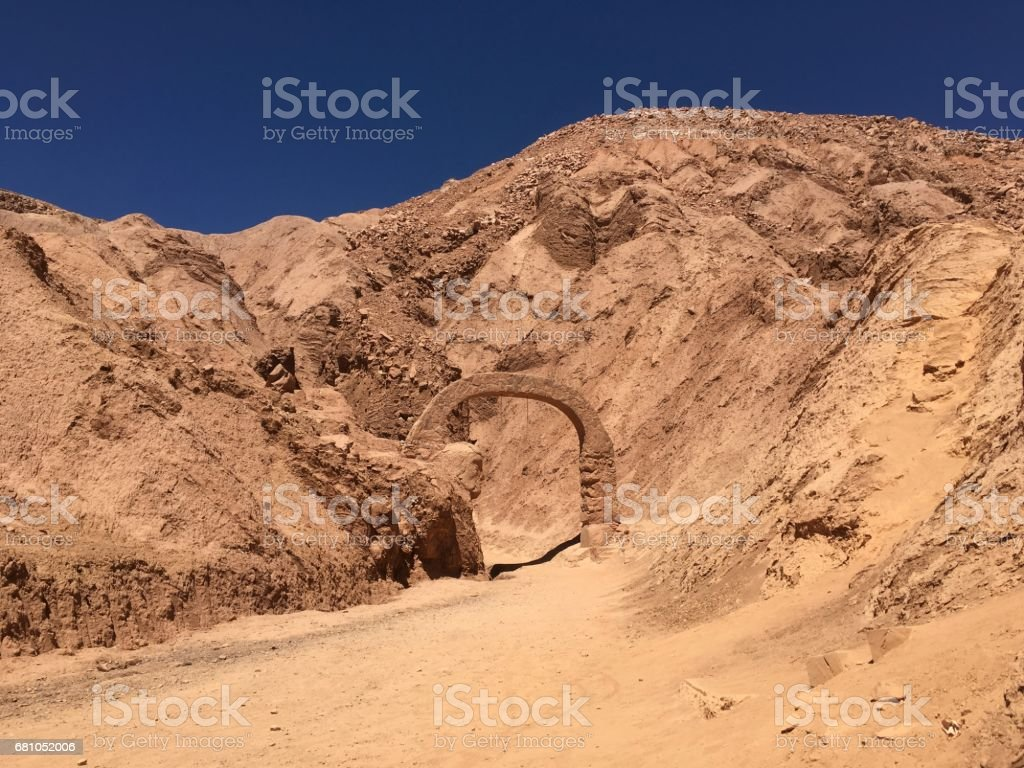 Ancient sculpture at Atacama desert in Chile royalty-free stock photo