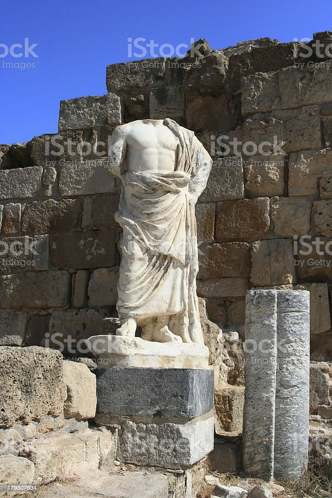 Ancient Sculpture in Salamis royalty-free stock photo