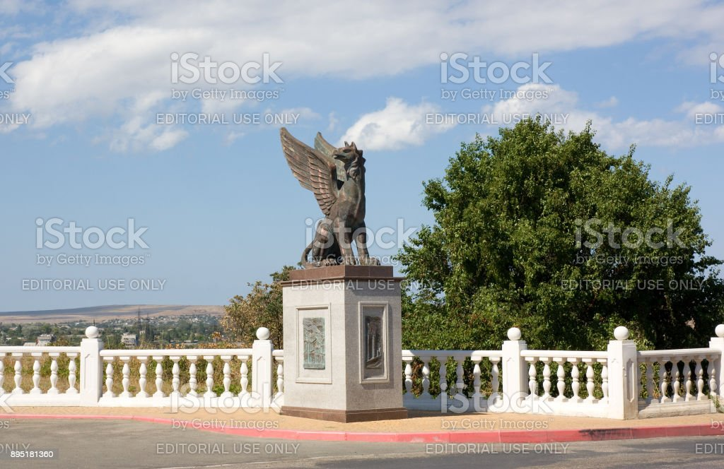 Ancient sculpture of a griffin in the Crimea stock photo