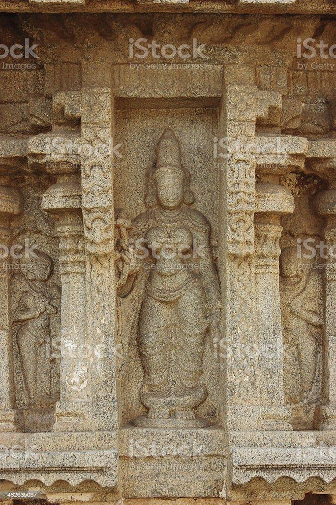 Ancient sculpture of a Hindu godess royalty-free stock photo