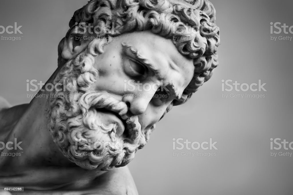 Ancient sculpture of Hercules and Nessus. Florence, Italy. Head close-up stock photo