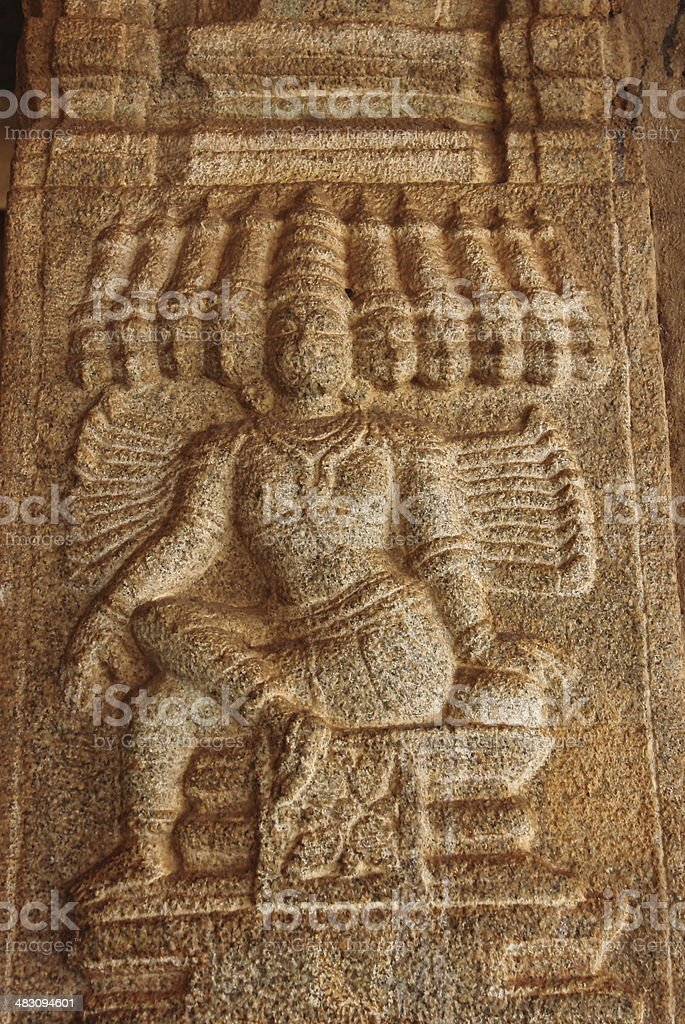 Ancient sculpture of Hindu mythological character Ravan stock photo