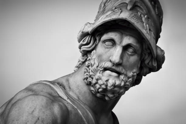 Ancient sculpture of Menelaus supporting the body of Patroclus. Florence, Italy stock photo