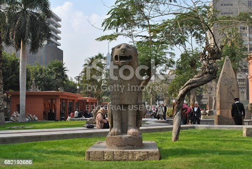 Cairo, Egypt - January 20, 2011: Ancient sculptures on the territory of the Cairo Museum in Egypt