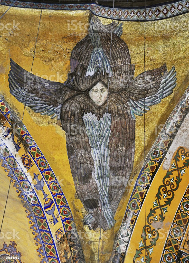 Ancient Seraphim Mosaic in Hagia Sophia stock photo