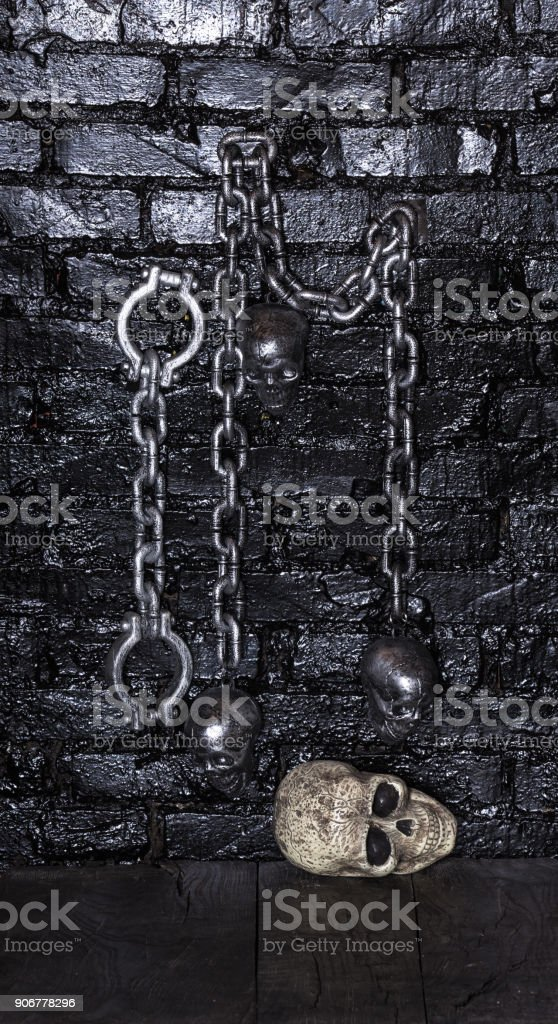 the thick chains of against ancient strong steel wooden download chest iron old brown background an