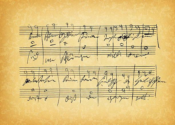 ancient sheet music - nota kağıdı stok fotoğraflar ve resimler