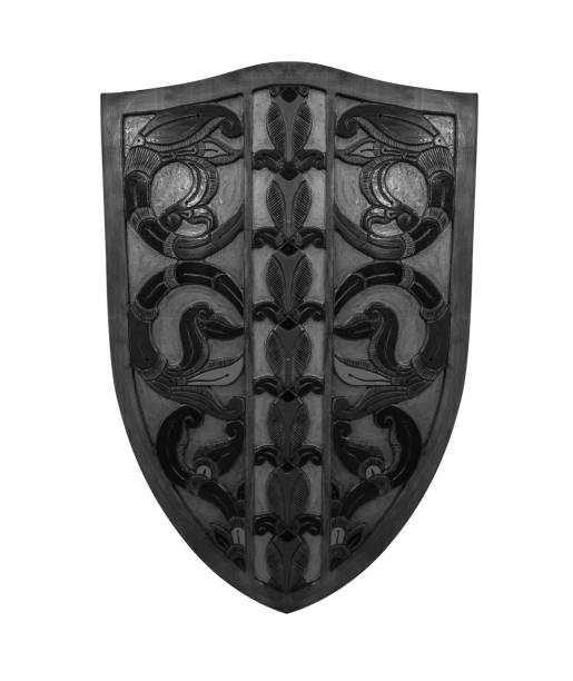 Ancient shield isolated on white background stock photo