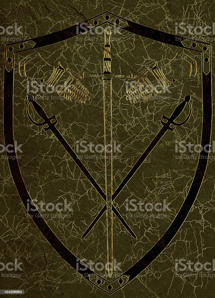 Ancient Shield of Arms on Green Marble stock photo