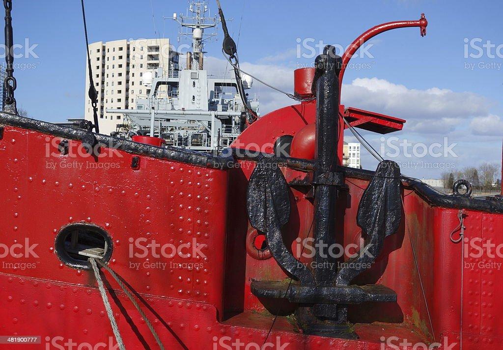 ancient ship anchor stock photo