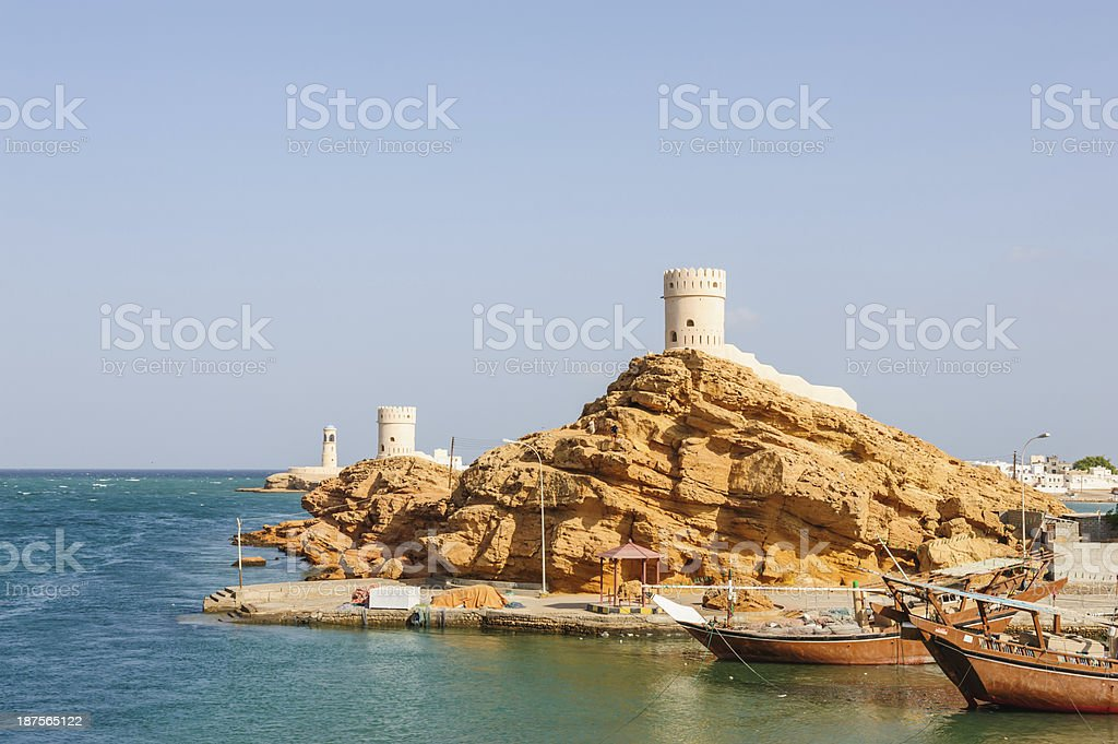 Ancient ship of Sur stock photo
