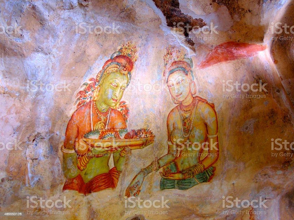 Ancient Sigiriya Fresco painting stock photo